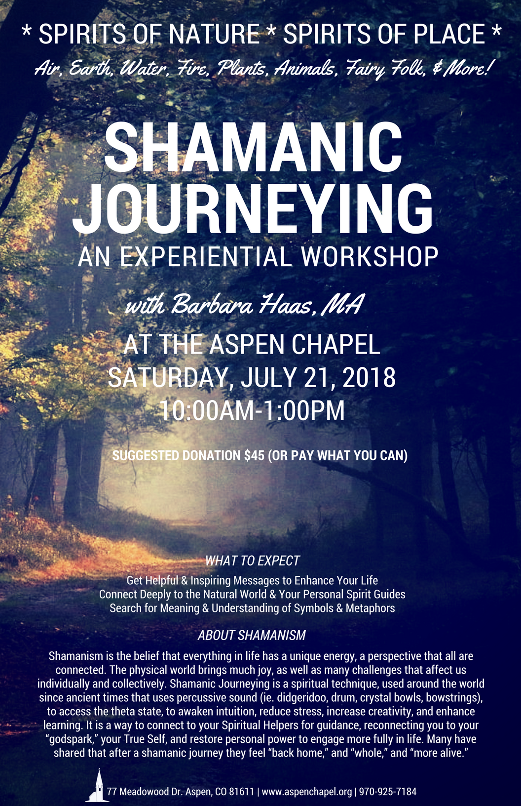 Shamanic Journeying An Experiential Workshop Aspen Co Chamber