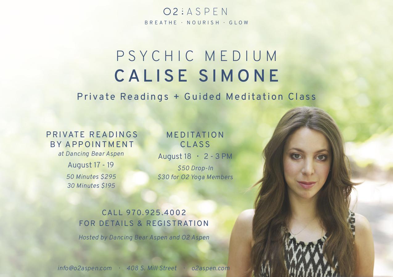 O20 Presents Psychic Medium Readings with Calise Simone   Aspen
